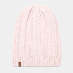 Дамска шапка Cable Knit Slouchy Beanie for Women in Light Pink