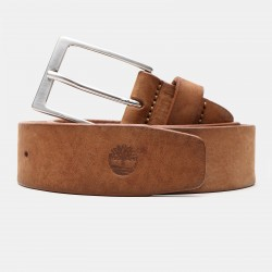 Мъжки колан Washed Leather Belt for Men in Light Brown