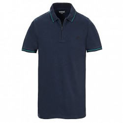 Мъжка тениска Polo Shirt for Men with Zip in Dark Navy